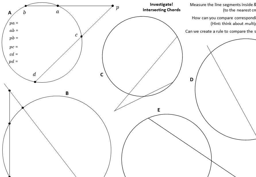 Circle Theorems - Intersecting Chords - Worksheet B