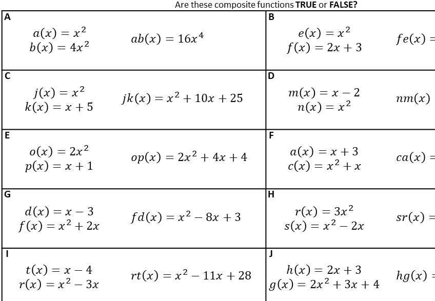 Composite Functions - With Quadratics - Card Sort