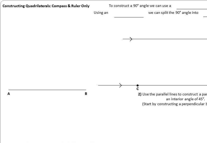 Constructing Quadrilaterals - Worksheet A