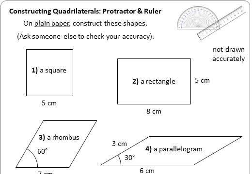 Constructing Quadrilaterals - Worksheet B