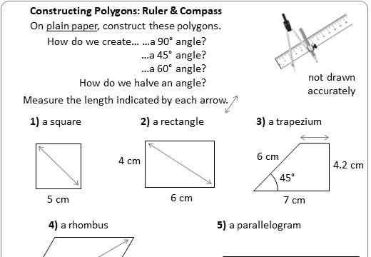 Constructing Quadrilaterals - Worksheet C