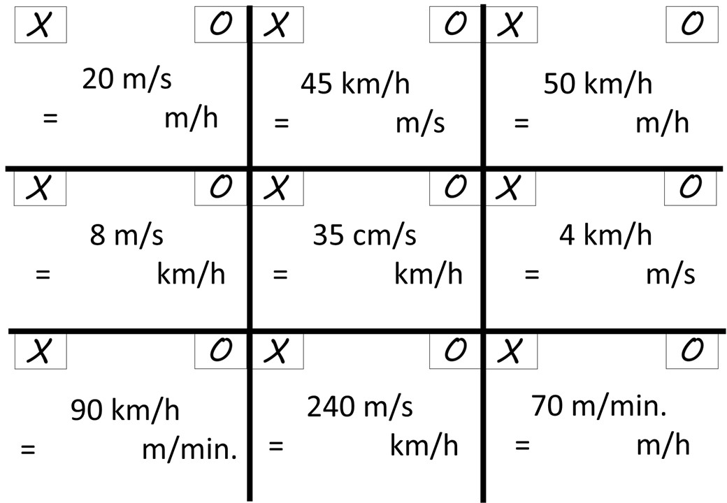 Converting Speeds - Noughts & Crosses