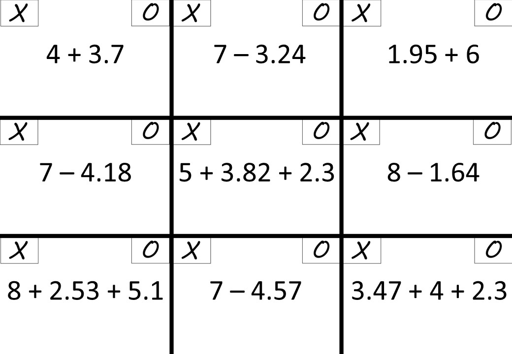 Decimals - With Integers - Adding & Subtracting - Noughts & Crosses