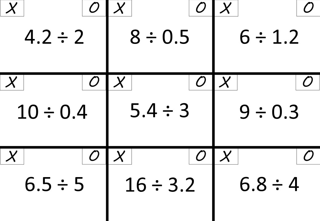Decimals - With Integers - Dividing - Noughts & Crosses