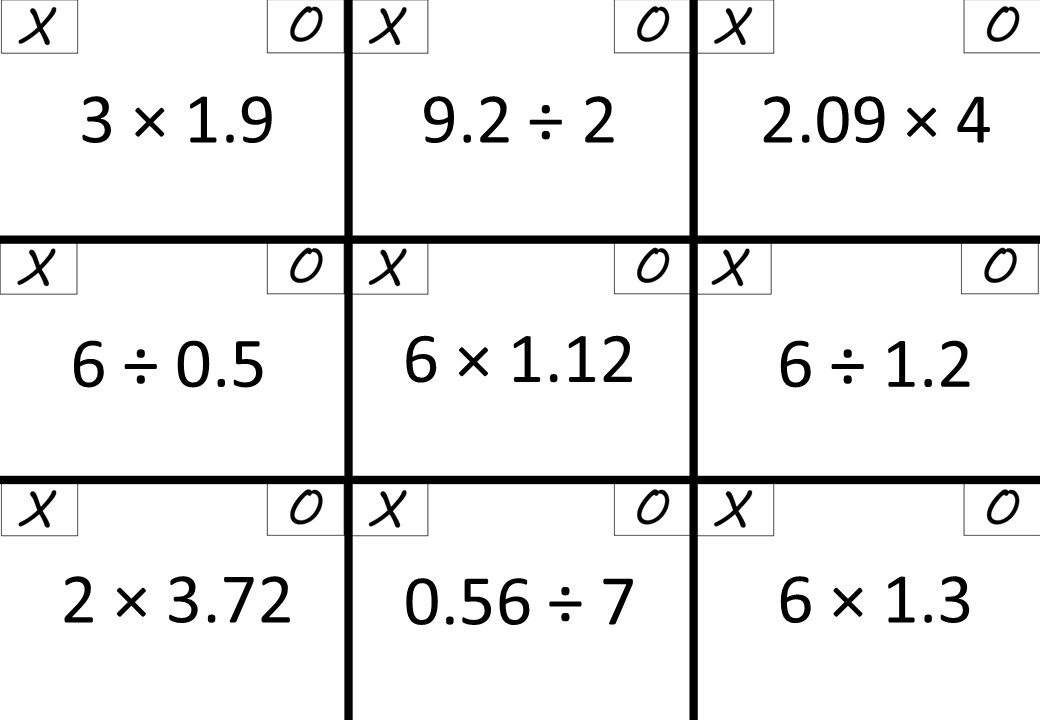 Decimals - With Integers - Multiplying & Dividing - Noughts & Crosses