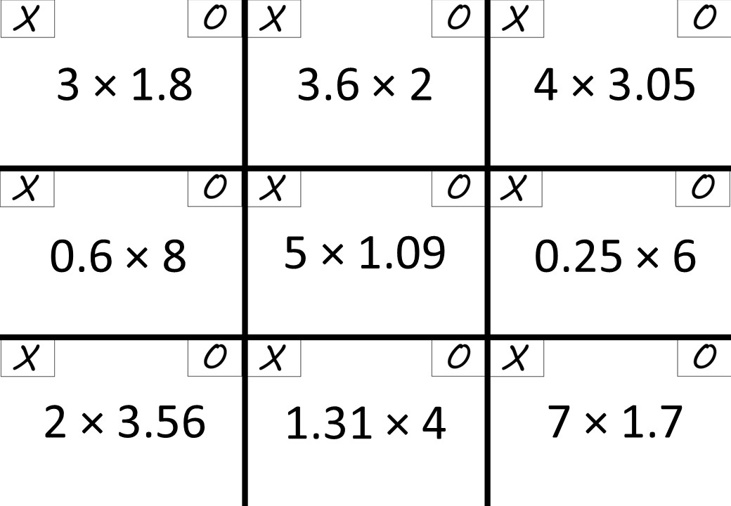 Decimals - With Integers - Multiplying - Noughts & Crosses