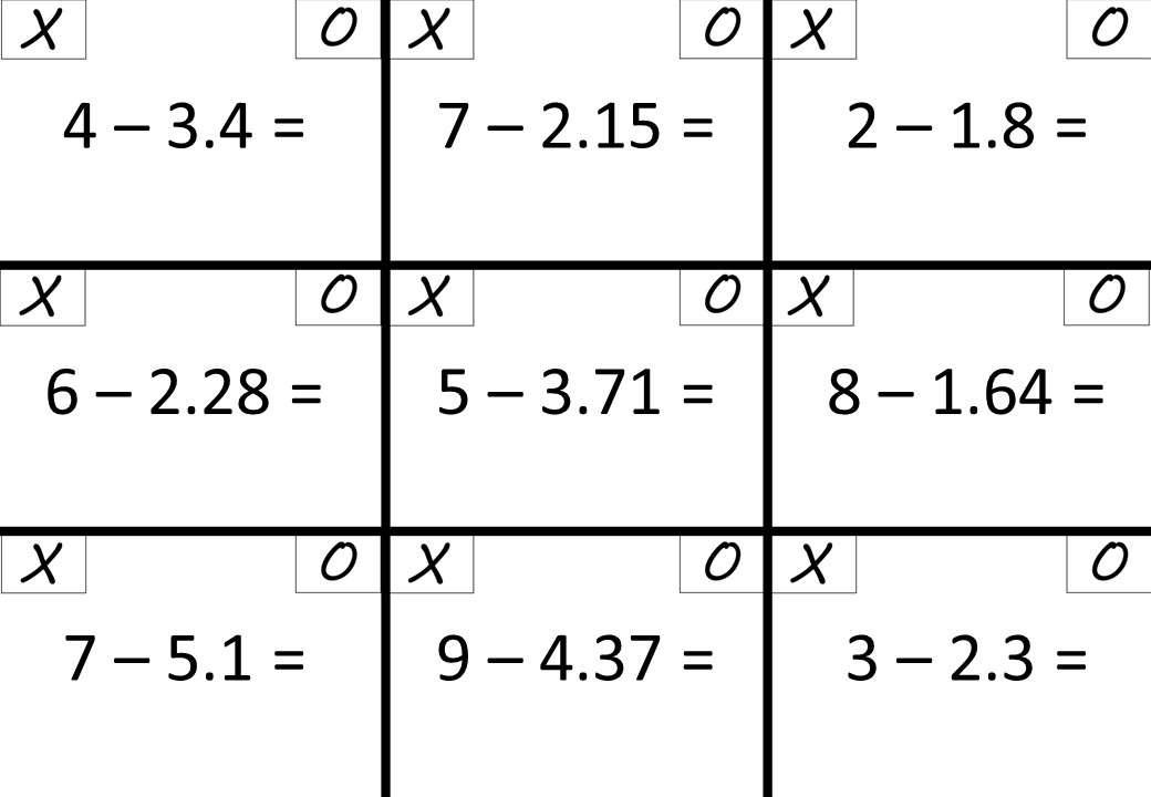Decimals - With Integers - Subtracting - Noughts & Crosses