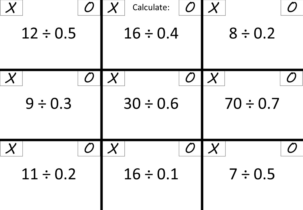 Dividing - Divisor Less Than 1 - Noughts & Crosses