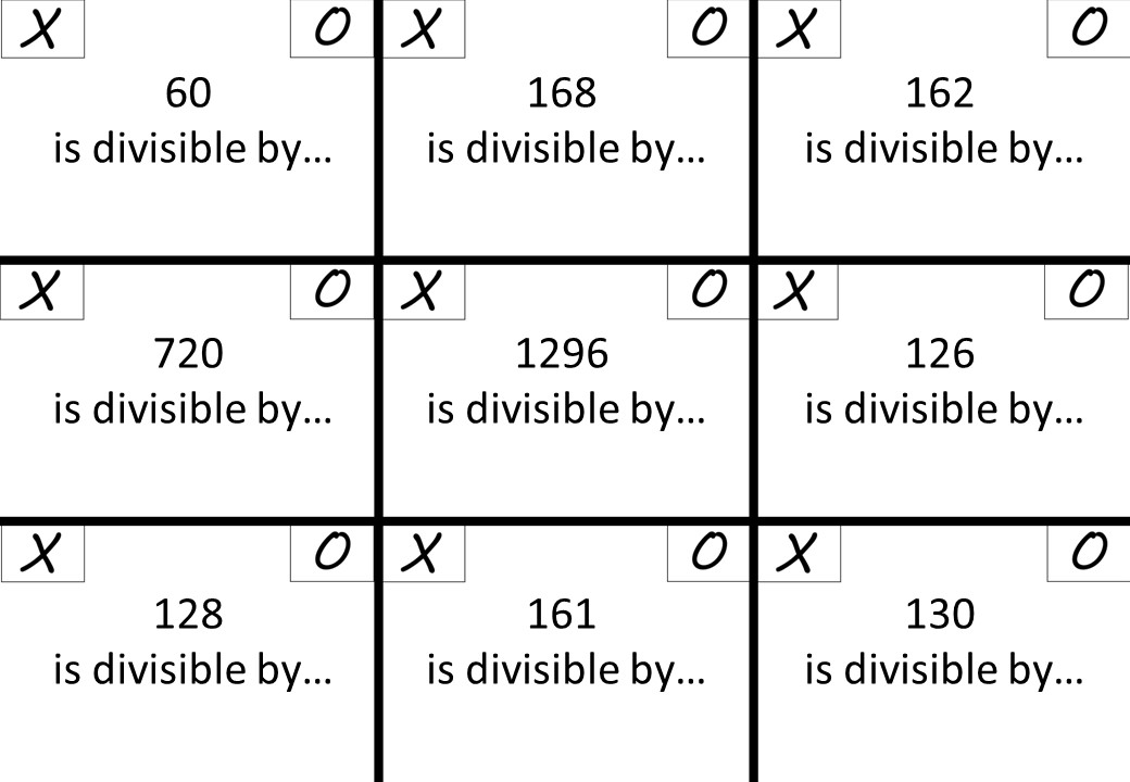 Divisibility Rules - Noughts & Crosses