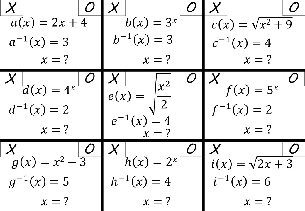 Evaluating Functions - IGCSE - Noughts & Crosses