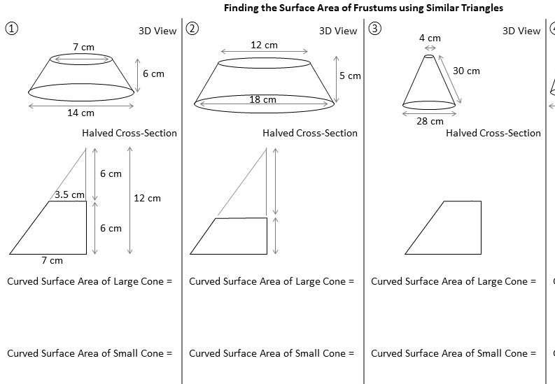 Frustum - Surface Area - Worksheet A