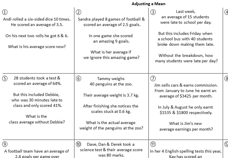 Mean - Adjusting - Worksheet B