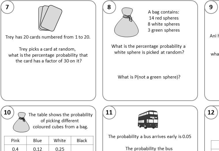 Probability - Single Event - Mixed - Relay Race