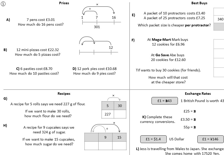 Proportion - Mixed - Calculator - Worksheet A