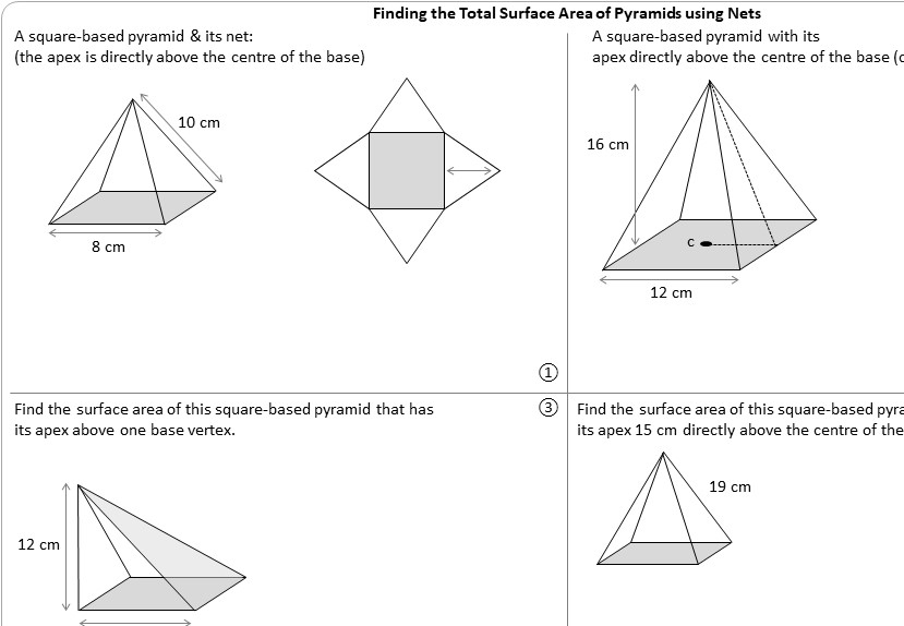 Pyramid - Surface Area - Worksheet A