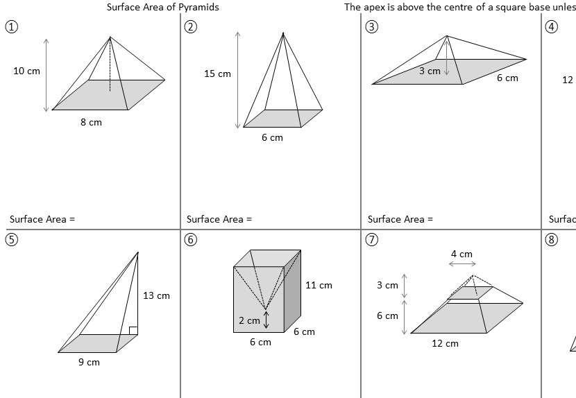 Pyramid - Surface Area - Worksheet B