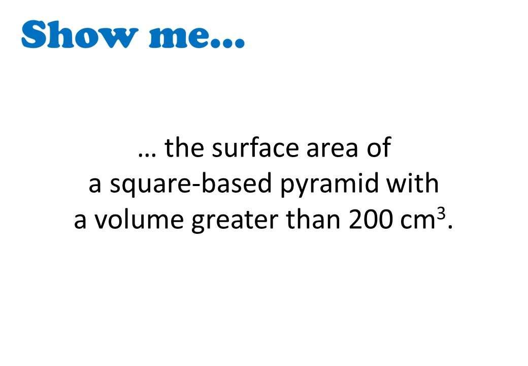 Pyramid - Volume & Surface Area – Show Me