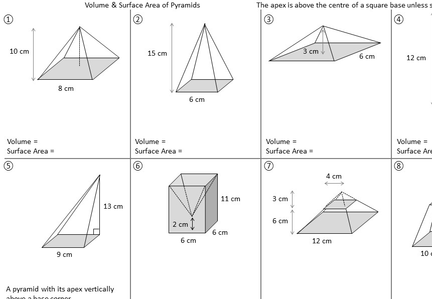 Pyramid - Volume & Surface Area – Worksheet A