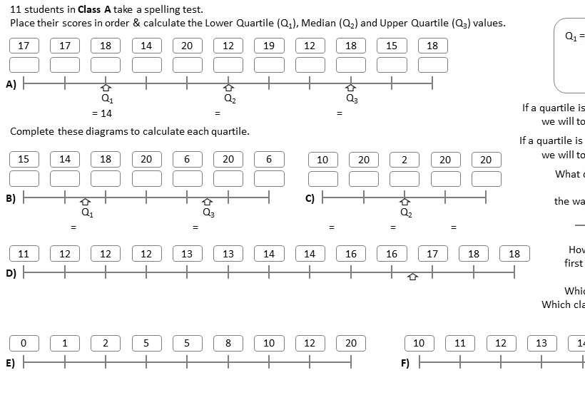 Quartiles - Worksheet A