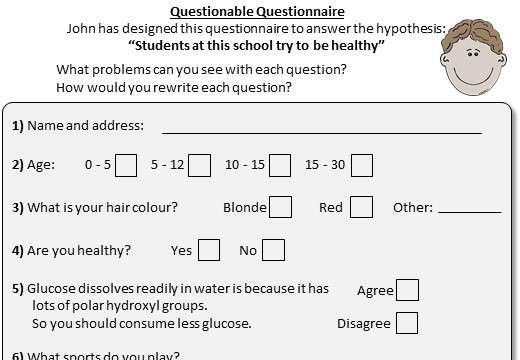 Questionnaires - Worksheet A