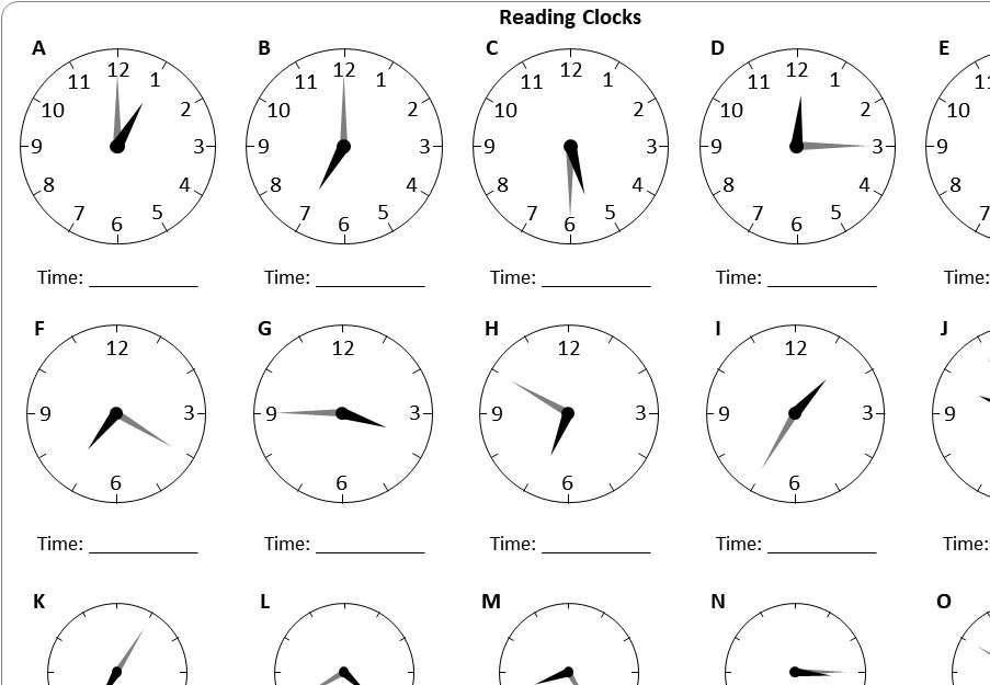 Reading Clocks - Worksheet A