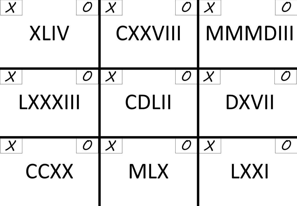 Roman Numerals - Noughts & Crosses