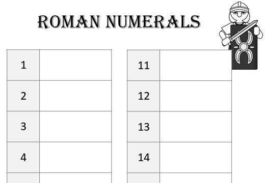 Roman Numerals - Worksheet A