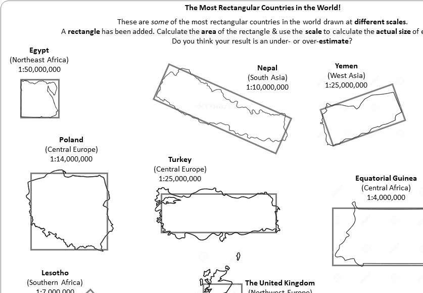 Scale Drawings - Areas - Worksheet