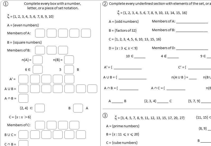 Set Notation - IGCSE - Worksheet A
