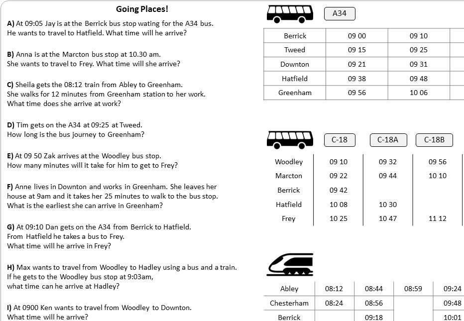 Timetables - Worksheet A