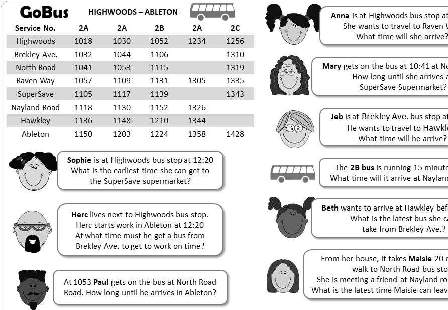 Timetables - Worksheet B