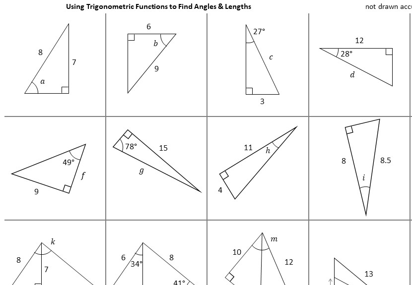 Trigonometry - Angles & Lengths - Worksheet C