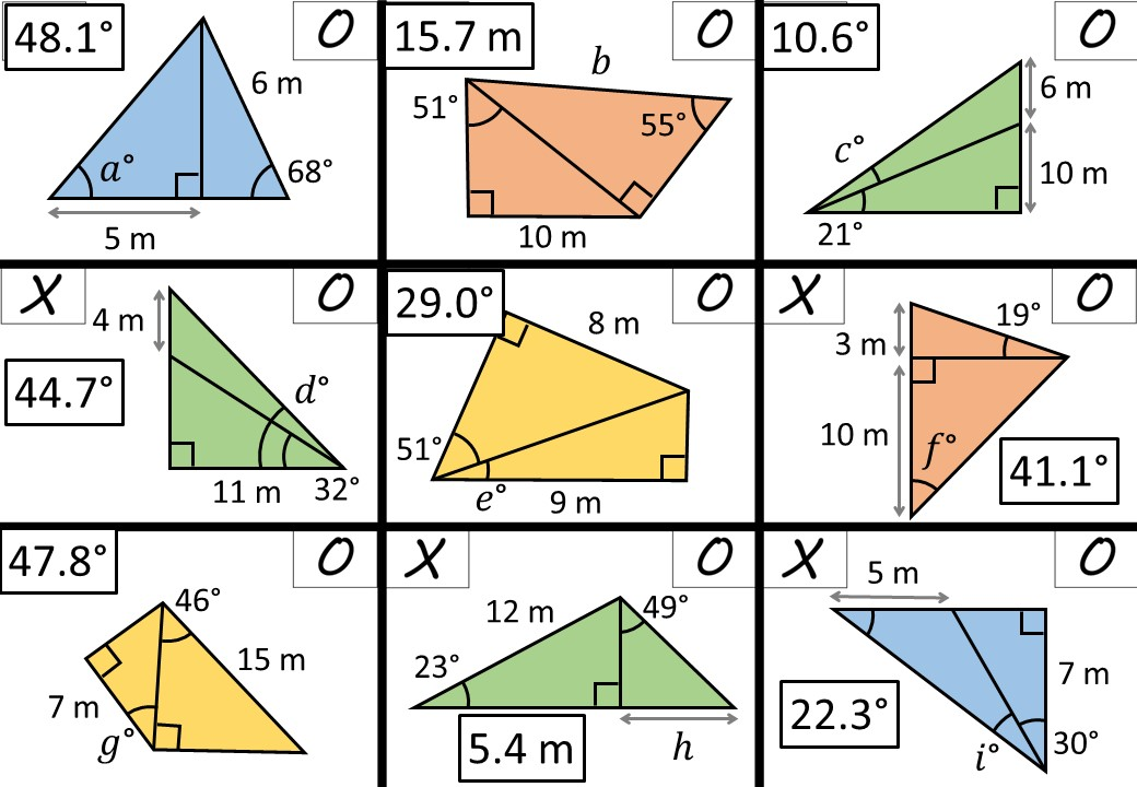 Trigonometry - Angles with Lengths - Noughts & Crosses