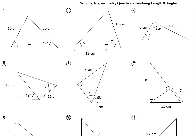 Trigonometry - Angles with Lengths - Worksheet A