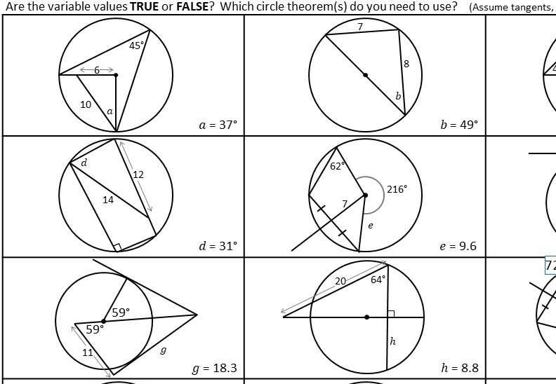 Trigonometry - With Circle Theorems - Card Sort